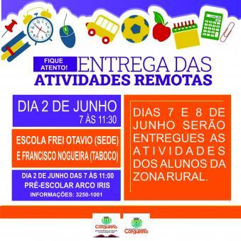Entrega de atividades nas escolas do municipio
